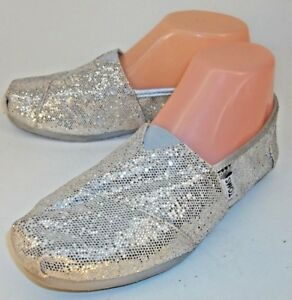 Toms-Wos-Shoes-US-7-Sparkly-Glitter-Silver-Slip-On-Casual-Flats-Espadrilles-468