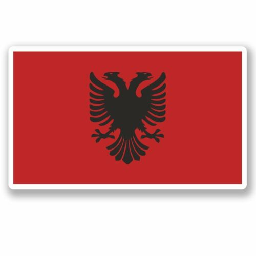 2 x Albania Flag Vinyl Sticker Laptop Travel Luggage Car #5272