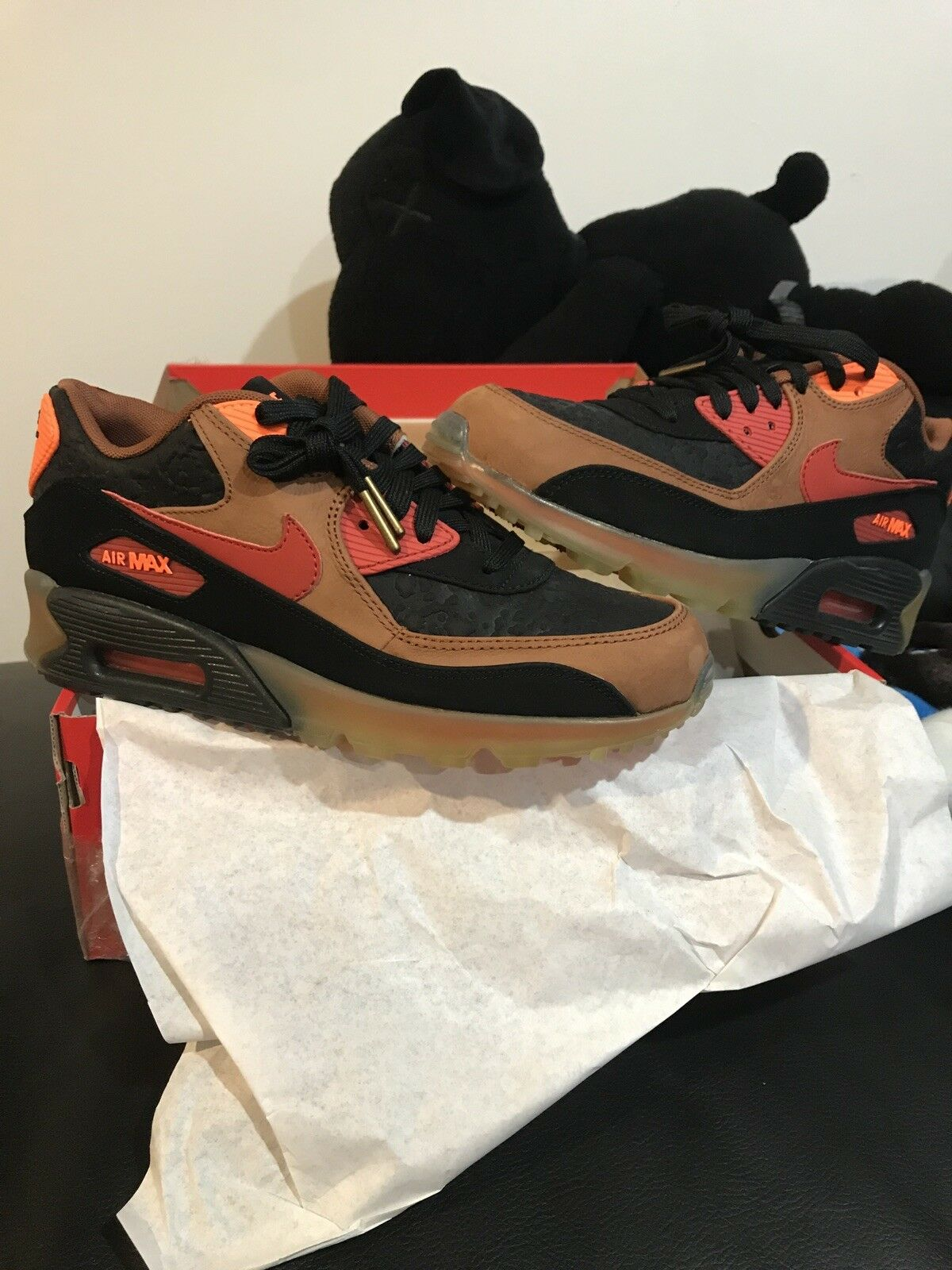 Nike Air Max 90 HW QS Halloween Quickstrike Size 7 Men's-717942 006 Black Cognac