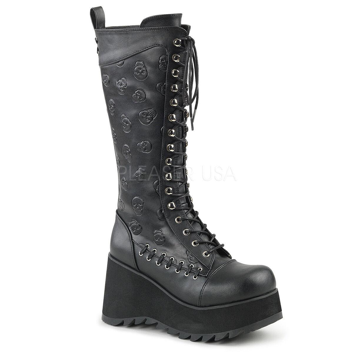 Demonia Vegan 3.5  Platform Laced Embossed Skull Knee Stiefel Punk Goth 6-11