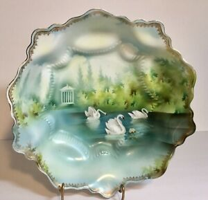 RS-Prussia-Antique-Porcelain-Bowl-Swans-on-Lake-Repaired