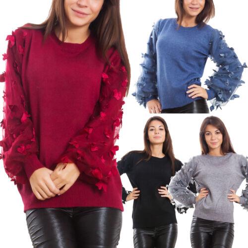 Grandi Maglione lunghe Pullover farfalle Maniche Donna Strette E0133 maniche xYqSY4w