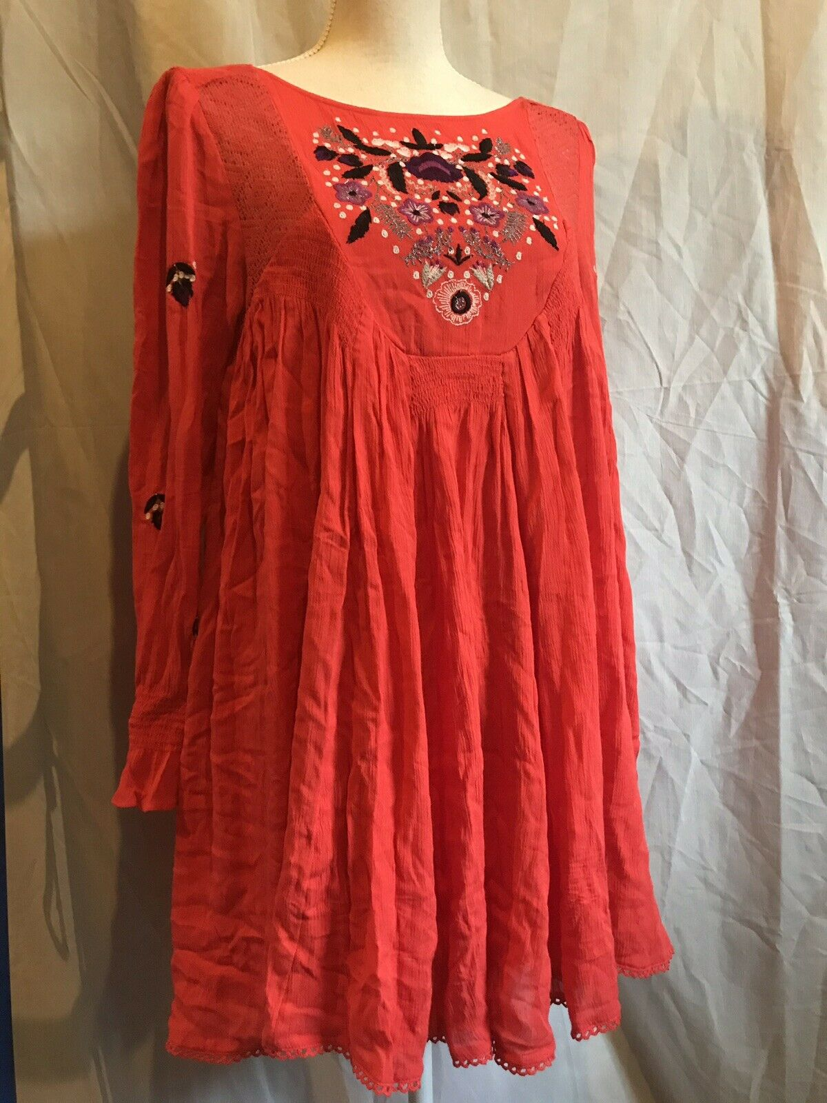 Free People Mohave Moya Embroiderot Floral Swing Boho Mini rot Dress Größe XS