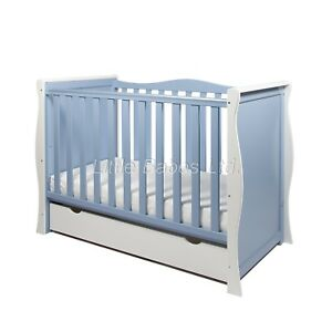 NEW WHITE AND BLUE SLEIGH MINI COT BED & DRAWER +/- BRITISH MADE SAFETY MATTRESS