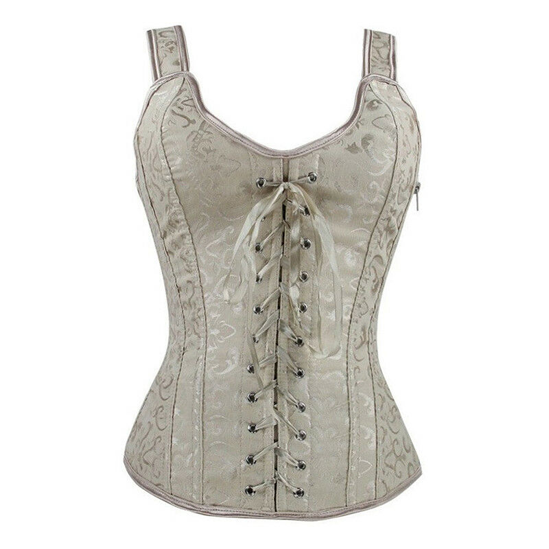 Bridal Floral lace up Over Bust Beige Corset with Side Zipper Body Sharper