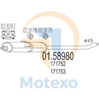 Affidabile Mts 01.58980 Scarico Citroen Jumpy 1.9 Diesel 70bhp 01/99 - 05/00-