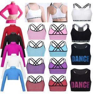 Yeahdor Kids Girls Ballet Dance Sports Bra Yoga Workout Criss Cross Back Tank Crop Tops