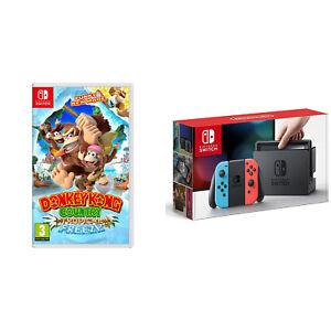 Nintendo Switch Console System 32GB Neon Joy-Con Wireless w/ Donkey Kong Bundle