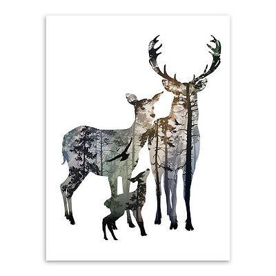 Minimalist Vintage Deer Family A4 Animals Poster Prints Canvas Painting Wall Art