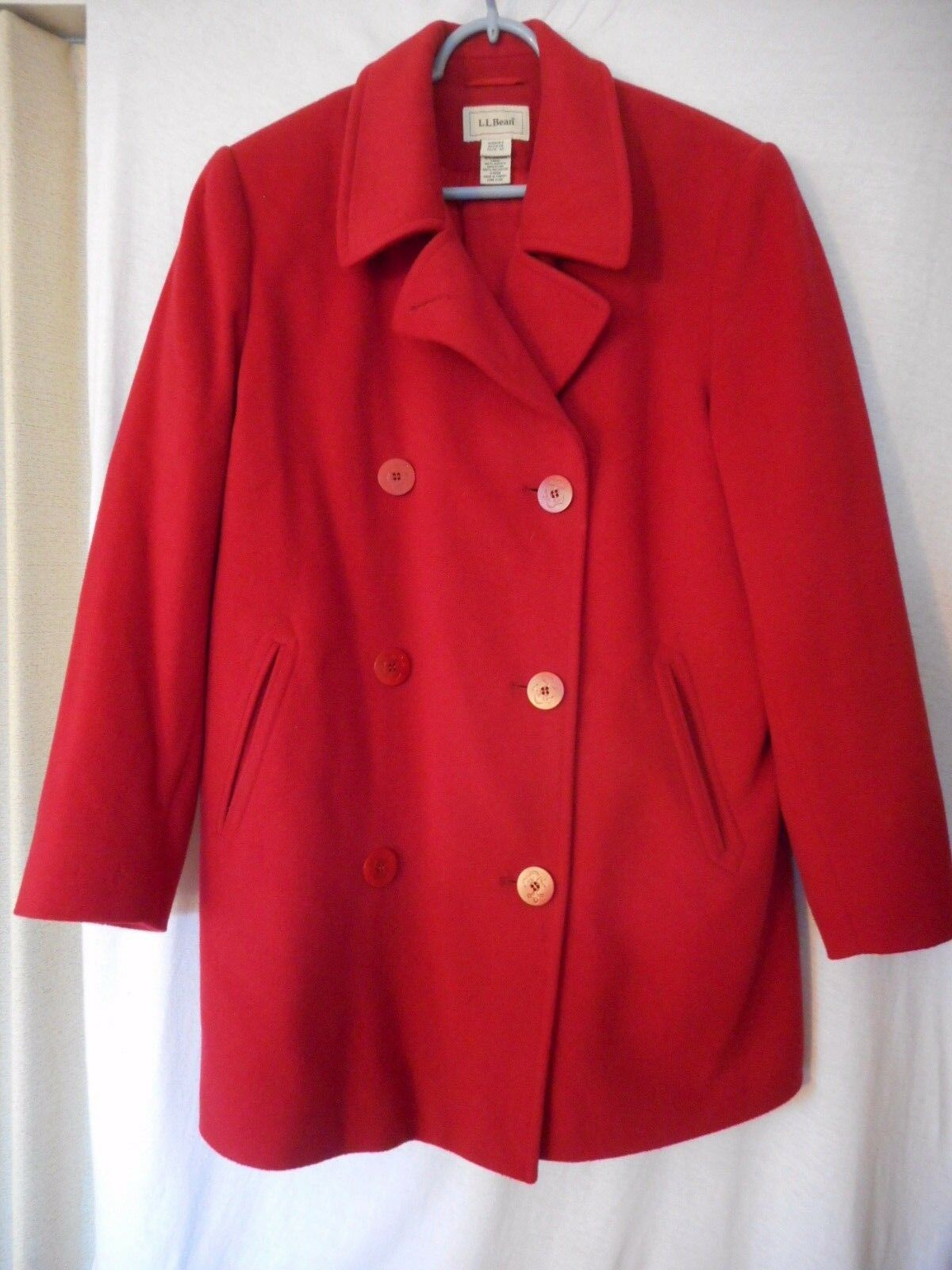 L.L. Bean Size 12 Cashmere Wool Thinsulate Red Pea Coat  w  houndstooth scarf