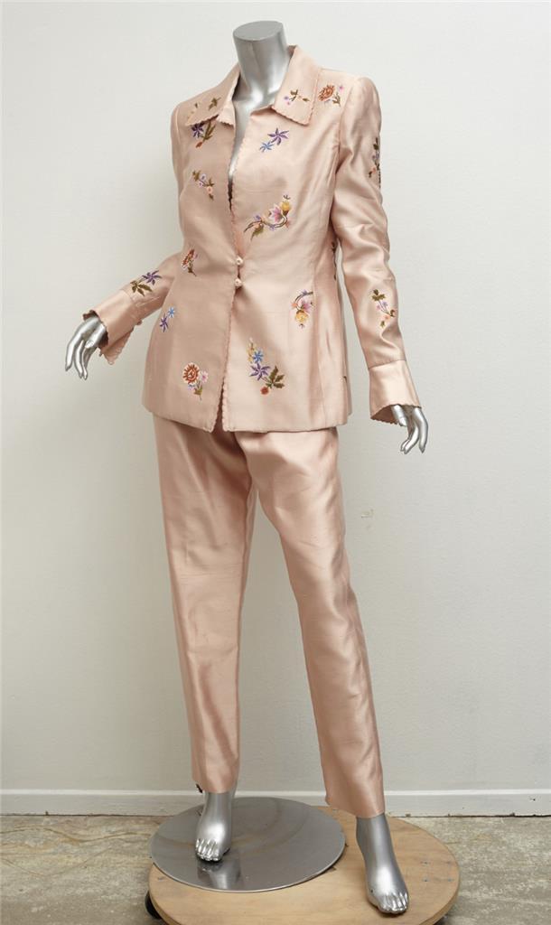 Oscar De la Renta Vintage rosa Seta Ricamato Floreale Giacca Giacca Giacca Pantalone Abito 6  013f35