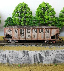 HO-Scale-Custom-Painted-Weathered-Train-Virginian-Hopper-Car