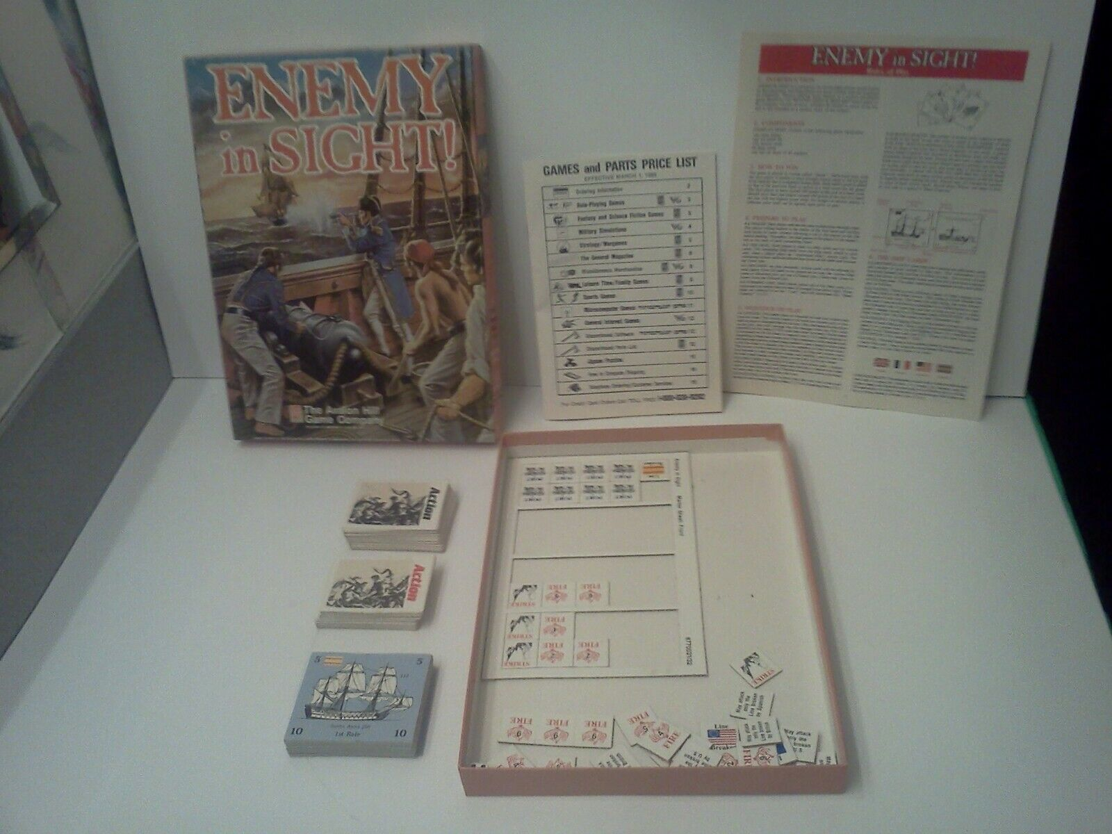 Enemy in Sight NAVAL CARD GAME Avalon Hill Game Company 1988 COMPLETE