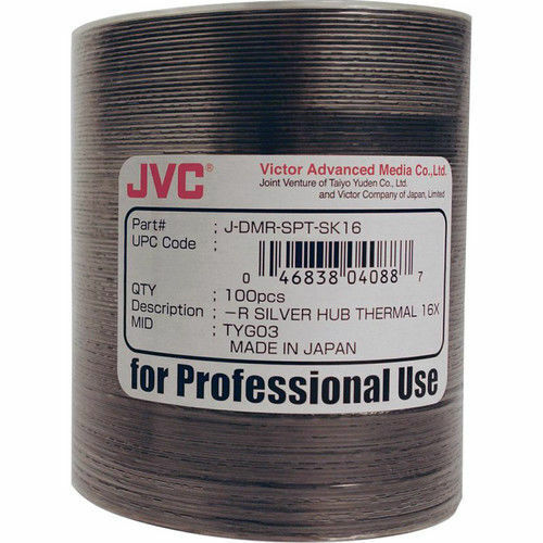 JVC Taiyo Yuden 100 pack R 16x 4.7GB Silver Thermal Print for Rimage C