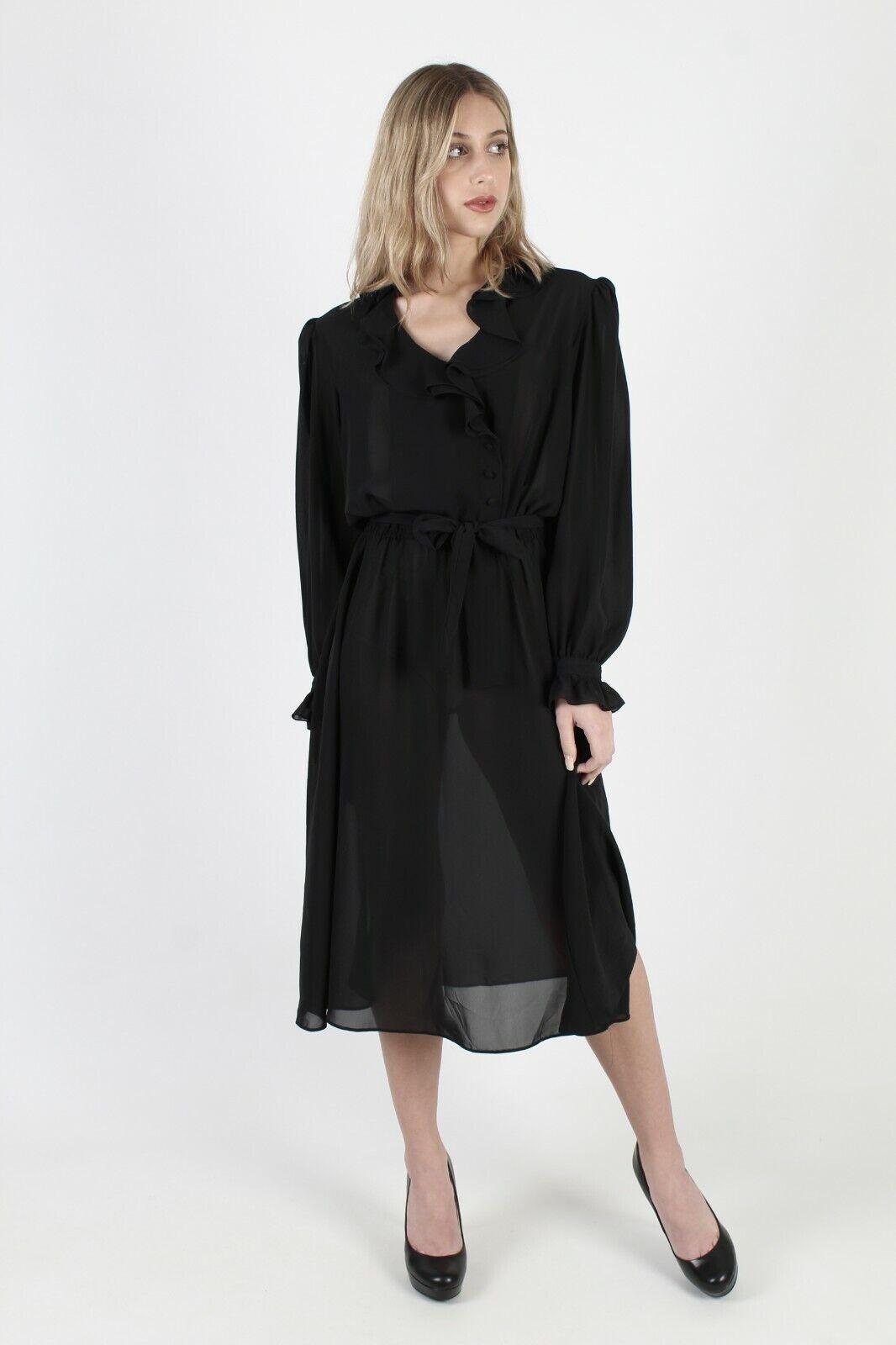 Vtg 80s Black Tuxedo Dress Sheer Ruffle Front Bel… - image 2