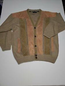 Vintage-Elfath-Tex-Egyptian-Brown-Tricot-And-Suede-Mens-Cardigan-Sweater