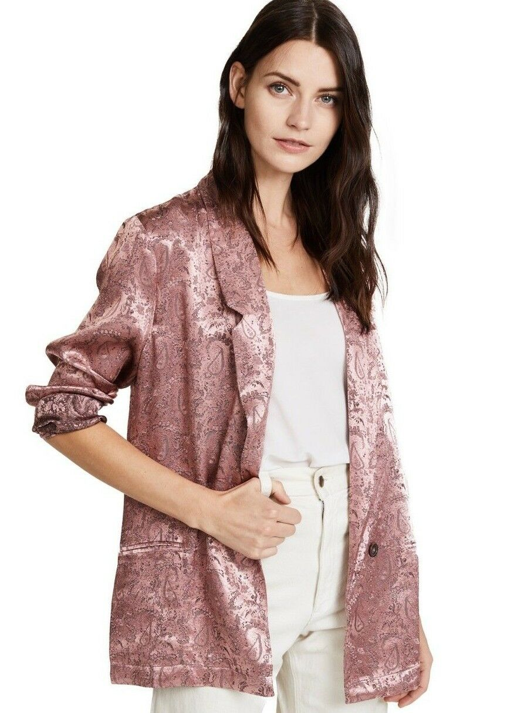 128 Neuf avec étiquettes Libre PEOPLE szxs Jacquard Paisley Décontracté Blazer veste rose