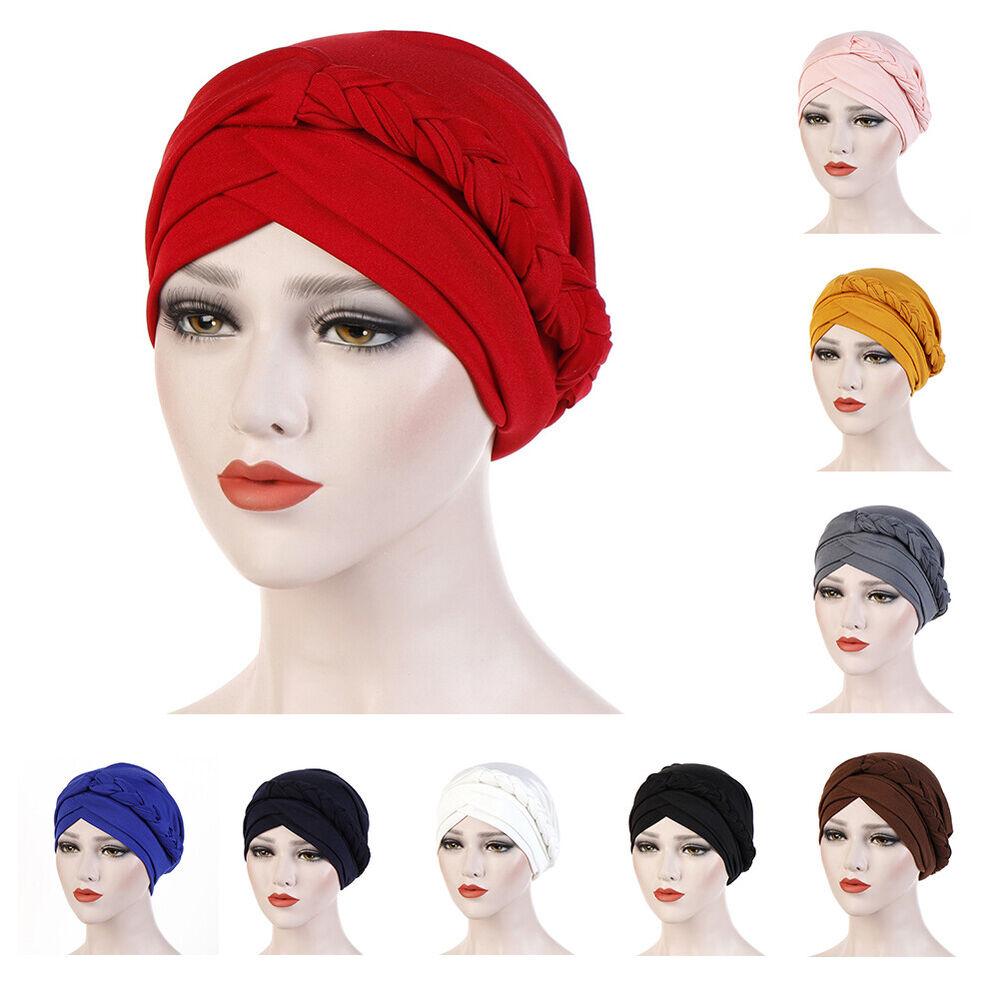 JQ_ CO_ Women Solid Color Braid Muslim Turban Hat Chemo Cap