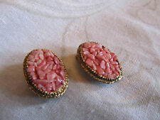 Gold Tone Oval & Pink Stone Chip Clip On Earrings - 2.8cm long