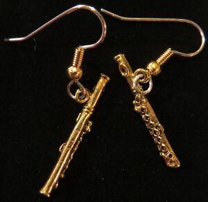 Image Is Loading Flute Earrings Flutes 24 Karat Gold Plate Music