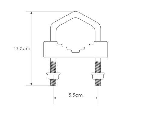 2 x Mastschelle SAT-Bügelschelle U-Schelle 51x140mm