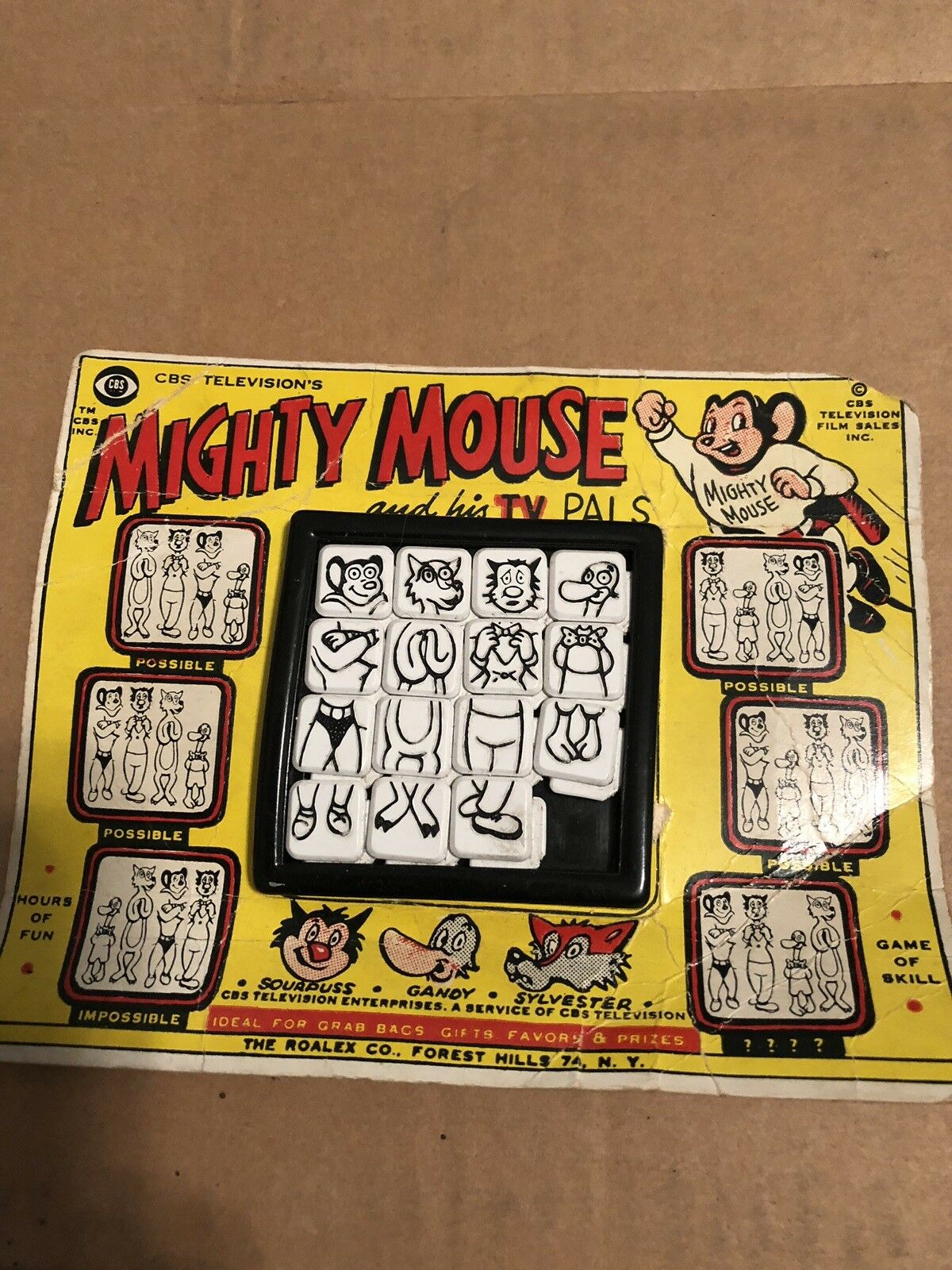 The Roalex Co Mighty Mouse And His TV Pals 1960s Slide Puzzle