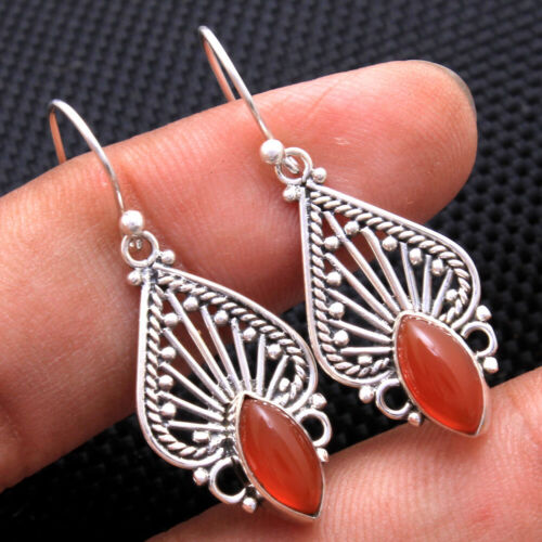 Designer Dangle Boucles d/'oreilles Cornaline disque gemstone solid 925 Sterling Silver Jewelry