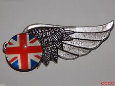 steampunk brooch badge pin flying right wing silver Union Jack flag Britain