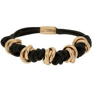 Bronzo-Italia-Yellow-Bronze-Brown-Knotted-Cord-Magnetic-Clasp-Bracelet-QVC-67