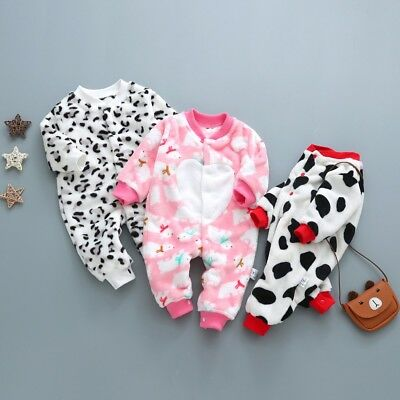 Newborn Baby Girl Boy Cartoon Leopard Dot Romper Jumpsuit Outfits Winter Clothes