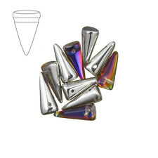 Czech Glass Spikes 7x17mm Crystal Volcano Beads Pack of 10 (M39/4)