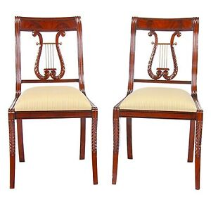 Image Is Loading NDRSC008 Niagara Furniture PAIR Solid Mahogany Lyre Chair