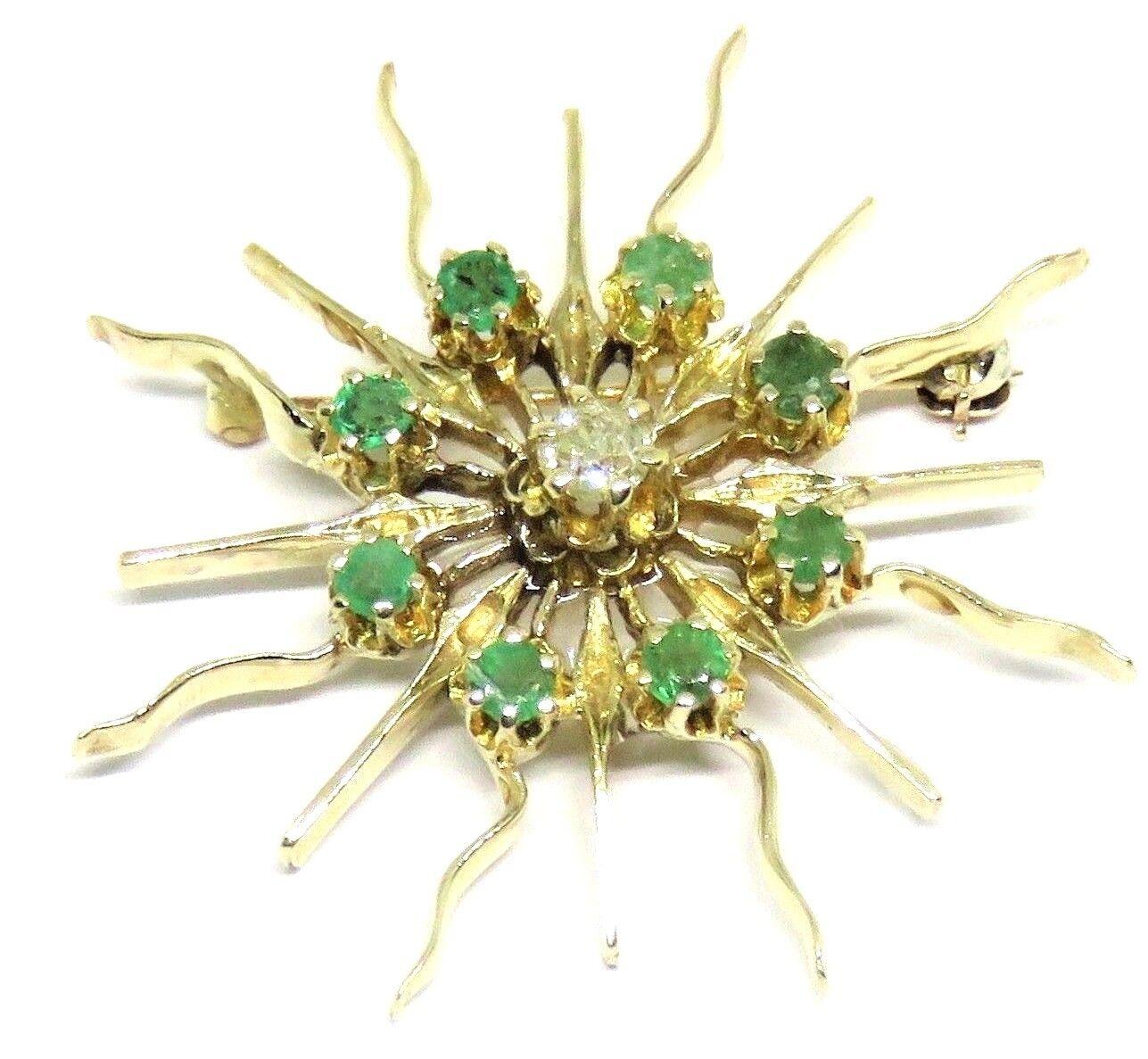 VINTAGE SUN PENDANT   PIN, DIAMOND & EMERALD PIN PENDANT, 14KY gold, STARBURST