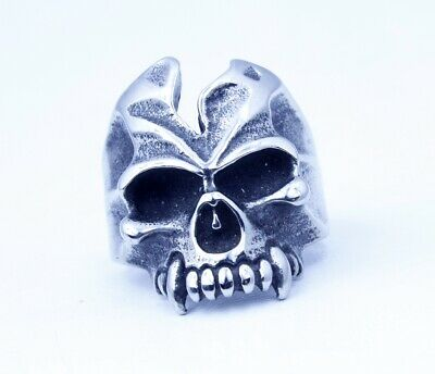 Details about  /Men Hip Hop //Punk Fashion Silver Skull Head Titanium Stainless Steel Ring 8