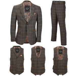 Para-Hombre-Tweed-Marron-Tierra-3-piezas-traje-de-verificacion-se-vende-por-separado-Blazer-Chaleco