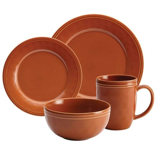 Distressed Rustic Dinnerware Set 16 Piece Stoneware Plates Bowls Pumpkin Orange