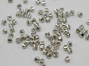 288-Silver-Clear-Crystal-Glass-Rose-Montees-3mm-SS12-Sew-on-Rhinestones-Beads