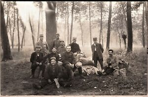 WW1-FRENCH-ARMY-HOOD-COMPANY-OFFICERS-SOLDIERS-FRONT-ANTIQUE-PHOTO-POSTCARD