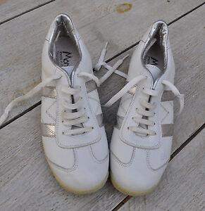 Détails sur Baskets SPORTSTAR MONBIANCO cuir blanc bandes argent Pointure 40