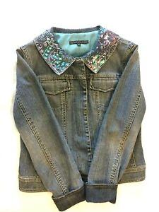 Women-039-s-Antonio-Melani-Sequinned-Blue-Jean-Denim-Jacket-Size-6