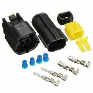 set 2 polig stecker steckverbinder wasserdicht f r auto motorrad kabel verbinder ebay. Black Bedroom Furniture Sets. Home Design Ideas