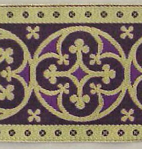 3-034-Wide-Jacquard-Chasuble-Trim-Gold-amp-Purple-Vestment-Lace-Sewing-DIY-3-Yards