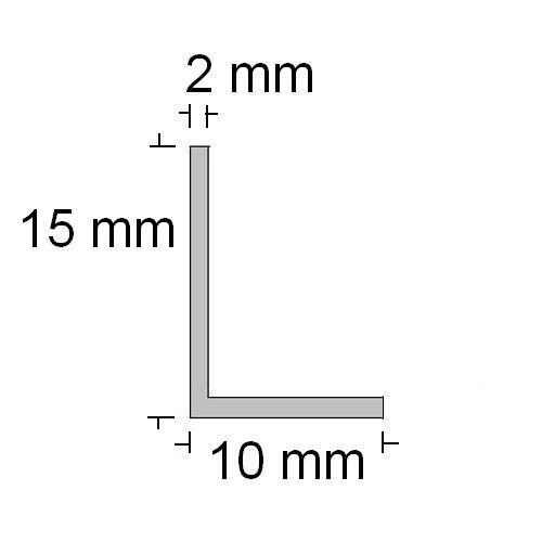 1,60€//m Aluwinkel  15 x 10 x 2 mm,