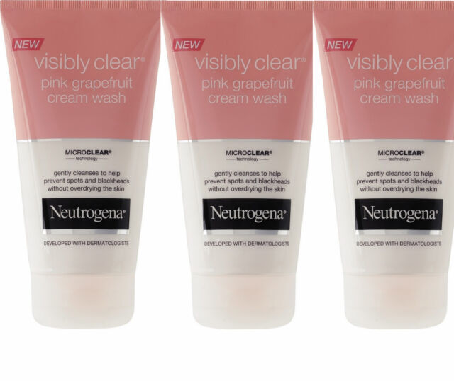 3 x Neutrogena Visibly Clear Pink Grapefruit Cream Wash - spots & blackheads