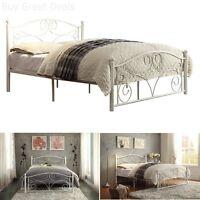 Platform Bed Full Size Headboard Footboard Metal Frame White Bedroom Furniture