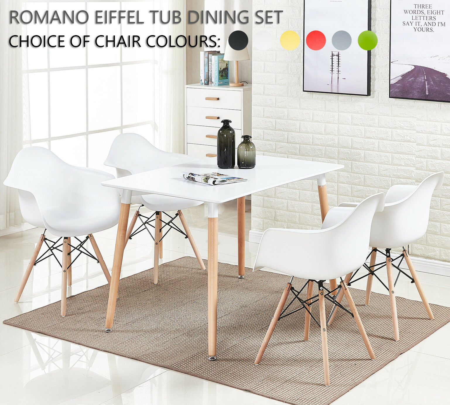 Pleasing Details About Romano Armchair Dining Set 4 X Romano Eiffel Armchairs Halo White Dining Table Pabps2019 Chair Design Images Pabps2019Com