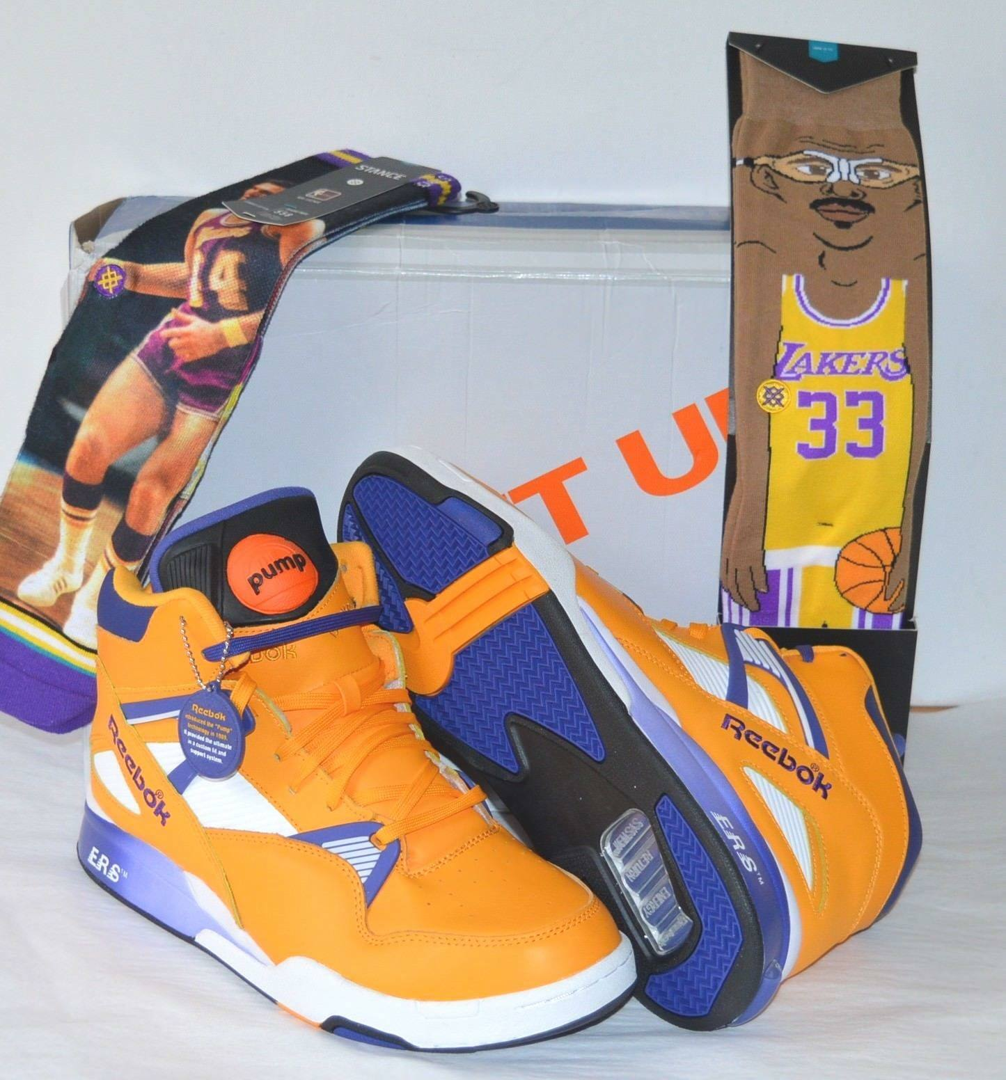 New Reebok The Pump Omni Zone ERS Retro The Lakers Gold/Violet/bianca 11.5 RARE