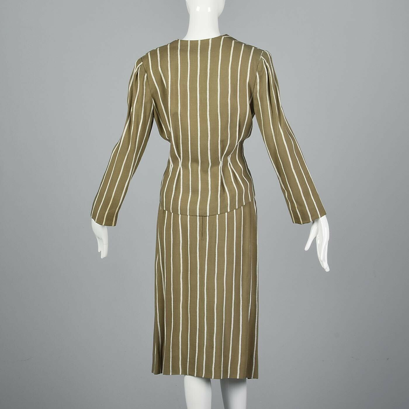 L Vintage 1980s 80s Pauline Trigere Striped Skirt… - image 3