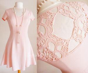 7220c275f09 Details about NEW No Boundaries Blush Pink Crochet Back Short Sleeves Fit & Flare  Skater Dress