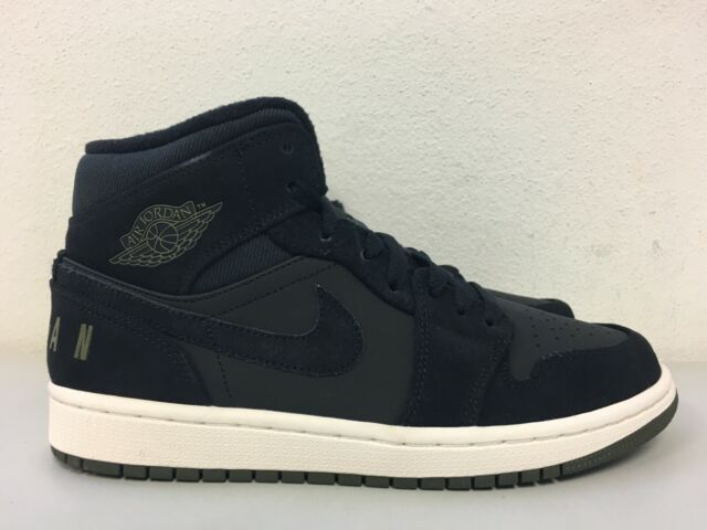 the best attitude fantastic savings sale online Nike Air Jordan 1 Mid Premium Black Olive Canvas Sail Bq6579-001 Size 7